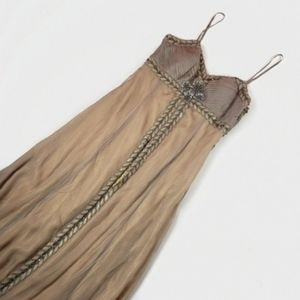 Sue Wong Beaded Gold Shimmer Formal Maxi Dress